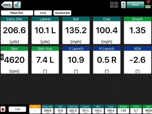 Photo explaining how to use the dashboard of Flightscope's VX app
