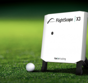 Product photo showing the Flightscope X3 launch monitor with golf ball fusion tracking technology