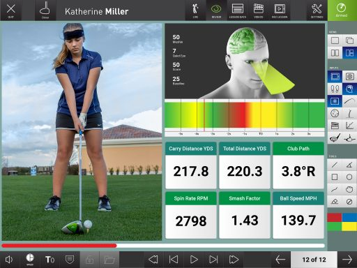 Photo showing different data sets available via the Flightscope launch monitors' video app