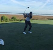 Flightscope Tour Player and Flightscope launch monitor user Bryson DeChambeau preparing to hit the ball