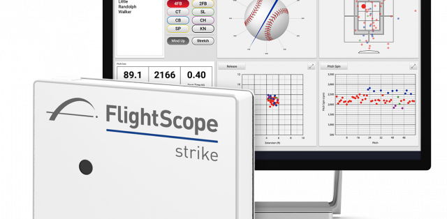 Photo showing the data gathering capabilities of baseball tracking radar Flightscope Strike