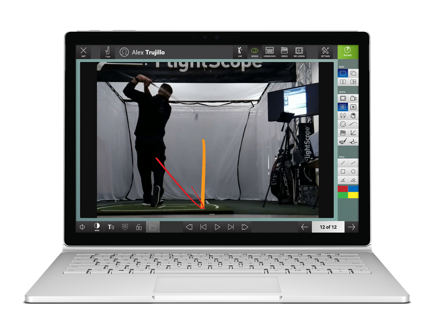 Photo showing Flightscope's video app's golf ball and club trace feature