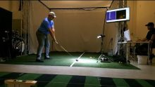 World Long Driver Mitch Grassing using Flightscope's virtual reality golf simulator