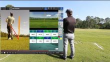 Dan Carraher using Flightscope X3's launch monitor app for Android and iOS devices