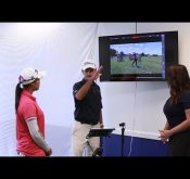 Andrew Park explaining how to use Flightscope's portable launch monitor Mevo for coaching