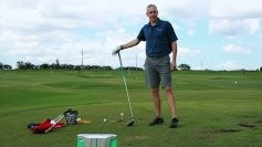Photo of John Novosel talking about how to use a FlightScope golf launch monitor to increase distance.