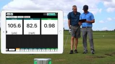 Photo of John Novosel talking about how the FlightScope X3 golf launch monitor can help control the speed of wedge shots.