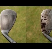 Video of data from a FlightScope golf launch monitor showing the difference that a clean wedge shot can make.